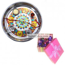 Silver Thali With Design And 20 Pcs Pink Chocolate Box With Ribbon