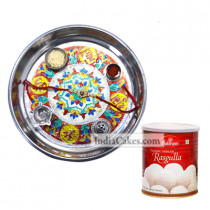 Silver Thali With Design And Rasgulla