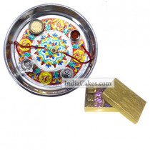Silver Thali With Design And Golden Finish Design Chocolate Or Sweet Box