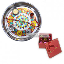Silver Thali With Design And 20 Pcs Red Color Chocolate Box With Ribbon