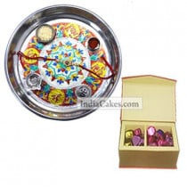 Silver Thali With Design And 20 Pcs Red Color Velvet Finish Chocolate Box