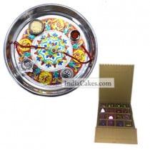 Silver Thali With Design And 16 Pcs Golden And Orange Stips Chocolate Box