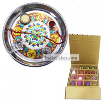 Silver Thali With Design And 16 Pcs Golden And Brown Stips Chocolate Box