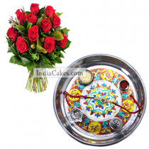 Silver Thali With Design And Red Roses