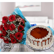 Special Butterscotch Half Kg Cake with 12 Red Roses