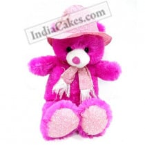 40 cm Dark Pink Color Teddy Bear With Scarf - Couriered