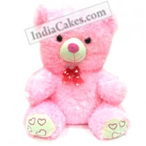 40 cm Pink Color Teddy Bear With Red Ribbon