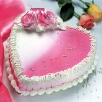 3 Kg Strawberry Cake Heart Shaped With Stand