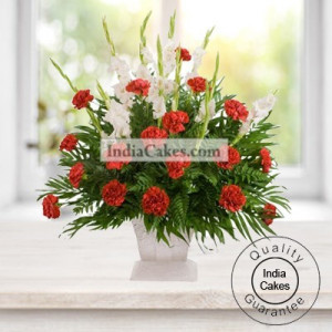 10 Red Carnation & 10 white Glads