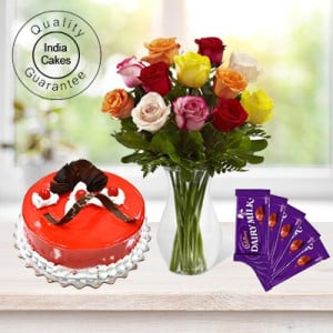 Eggless Strawberry Cake Half Kg with 6 Mix Roses Bunch and 5 Chocolates