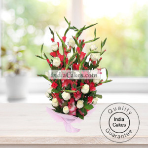 10 RED GLADS AND 10 WHITE ROSES BUNCH
