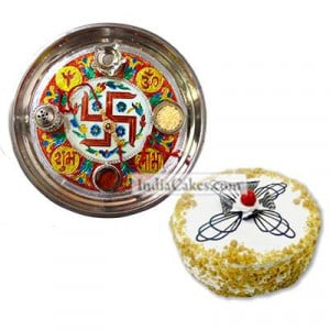 Golden Thali With Red Design And Half Kg Eggless Butterscotch Cake