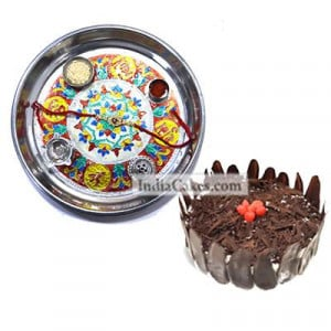 Silver Thali With Design And Half Kg Eggless Black Forest Cake