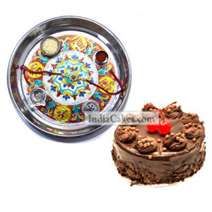 Silver Thali With Design And Half Kg Eggless Chocolate Truffle Cake