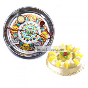 Silver Thali With Design And Half Kg Eggless Pineapple Cake
