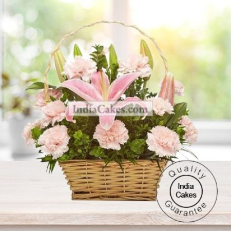 Arrangement of Lillium and Carnation in a Basket