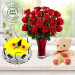 Eggless Pineapple Cake Half Kg with 6 Red Roses Bunch and a Teddy Bear