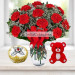 25 Red Carnations Bunch And Half Kg Butter Scotch Cake, 6 Inch Teddy
